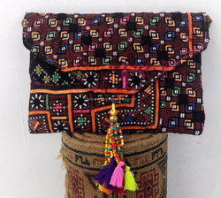 Multicolor suede banjara bag envelop style sling bag with bead tassel