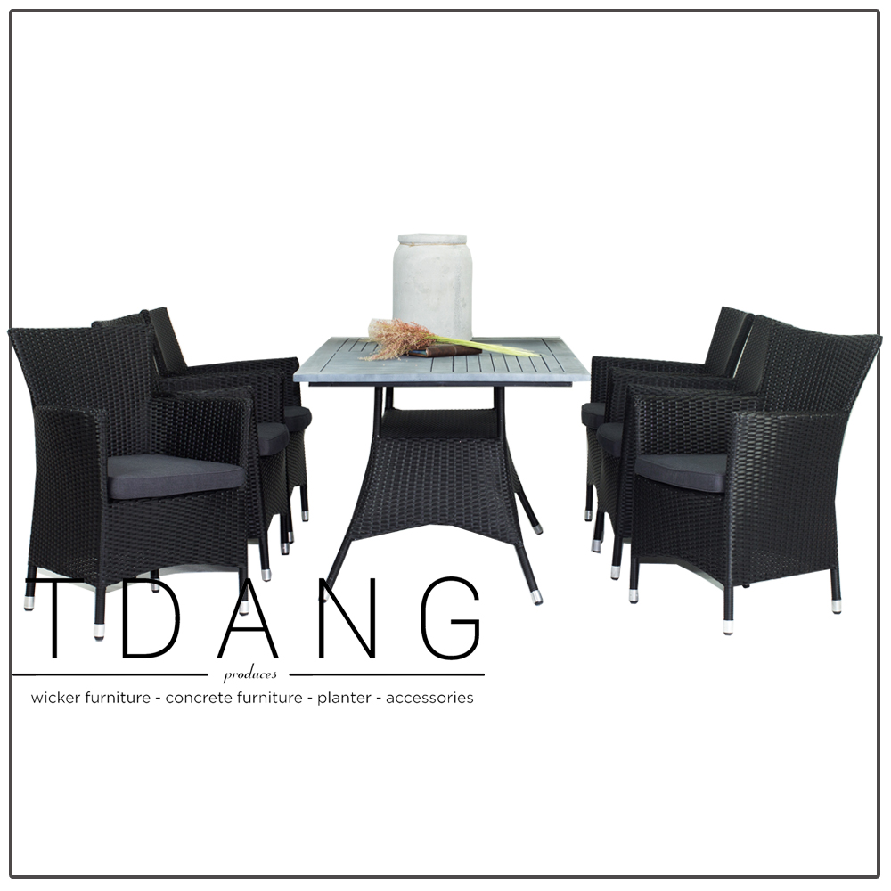 All-weather Resin Wicker Furniture - Patio Pasadena Black Dining Set