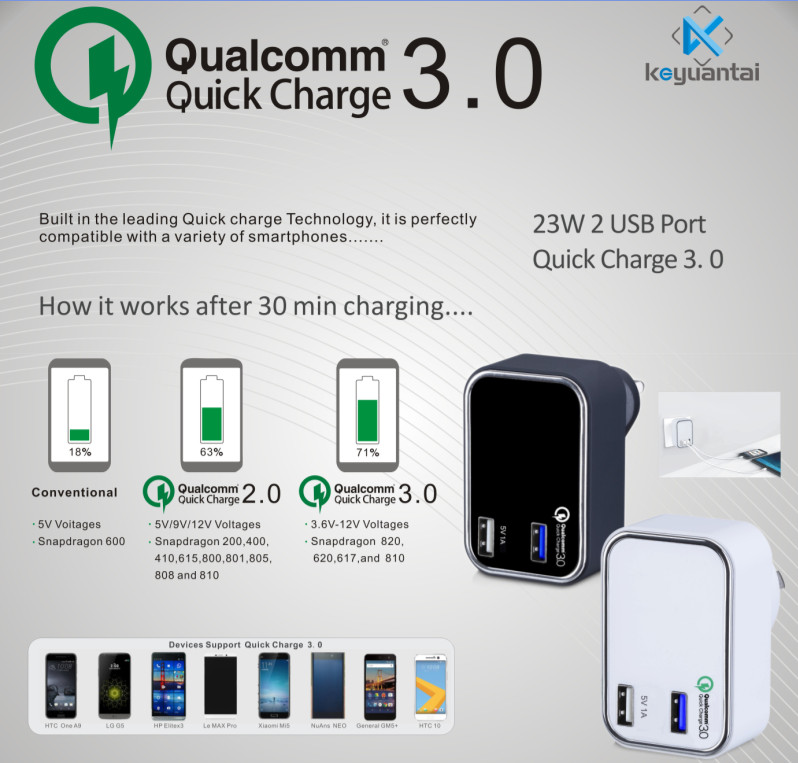 Phone accessory 23W 18W Qualcomm Quick Charge 3.0 charger QC3.0 approval charger