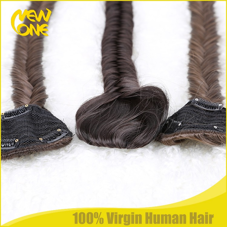 Wholesale fishtail clip in ponytail synthetic hair clip in braid ponytail
