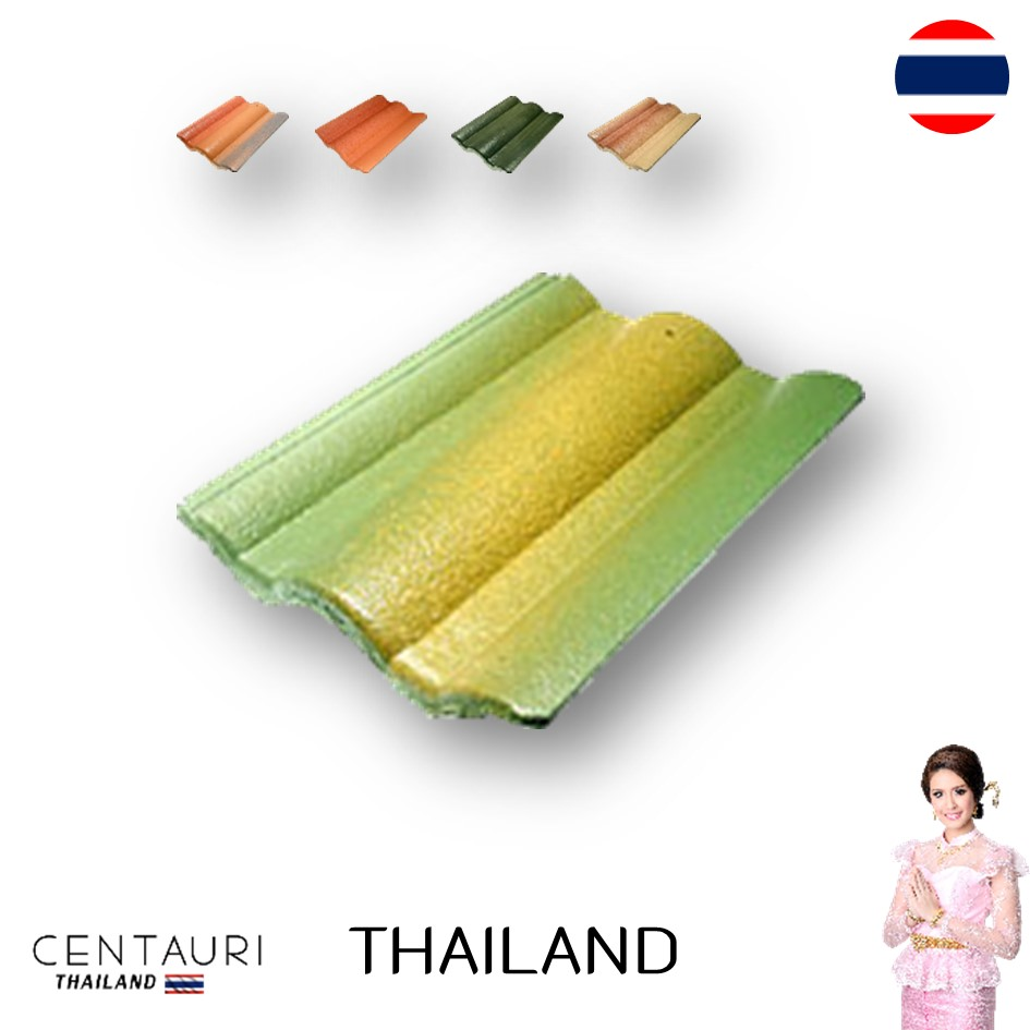 33*43.8 cm concrete carved new tan orange blown green super green yellow grey Thai concrete roof tiles and roof tiles from Thail