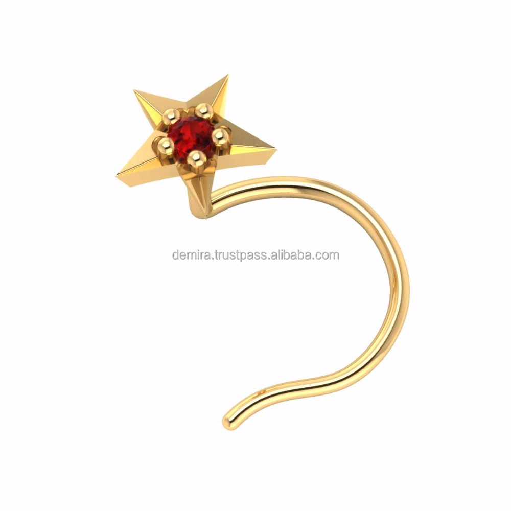 Star Shape Colorful Natural Gemstone 14K Gold Nose Pin