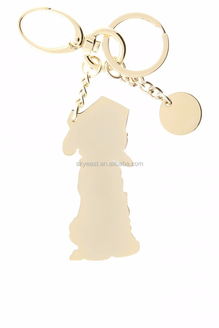 Funny Enamel Metal Tag with Shiny Polished Keychain Ring