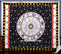 Hippie Wholesale Cotton fabric Sun and Moon Zodiac Astrology Printed Mandala tapestries Bedspread Throw Decorative Wall Art