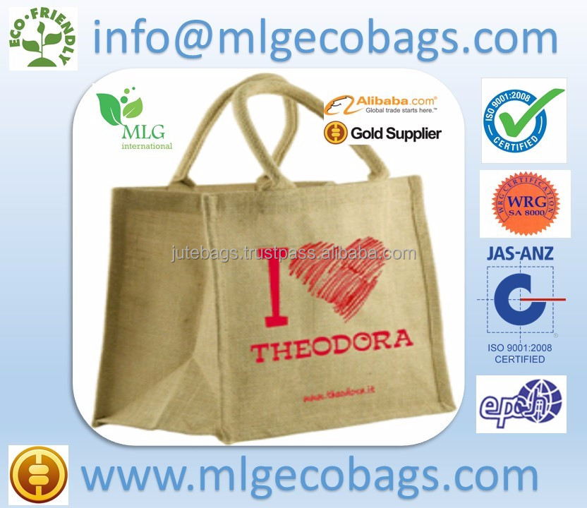Natural yute bag in natural handle wholesale tote bags shopping style / made in india / jute bags india, jute bags india