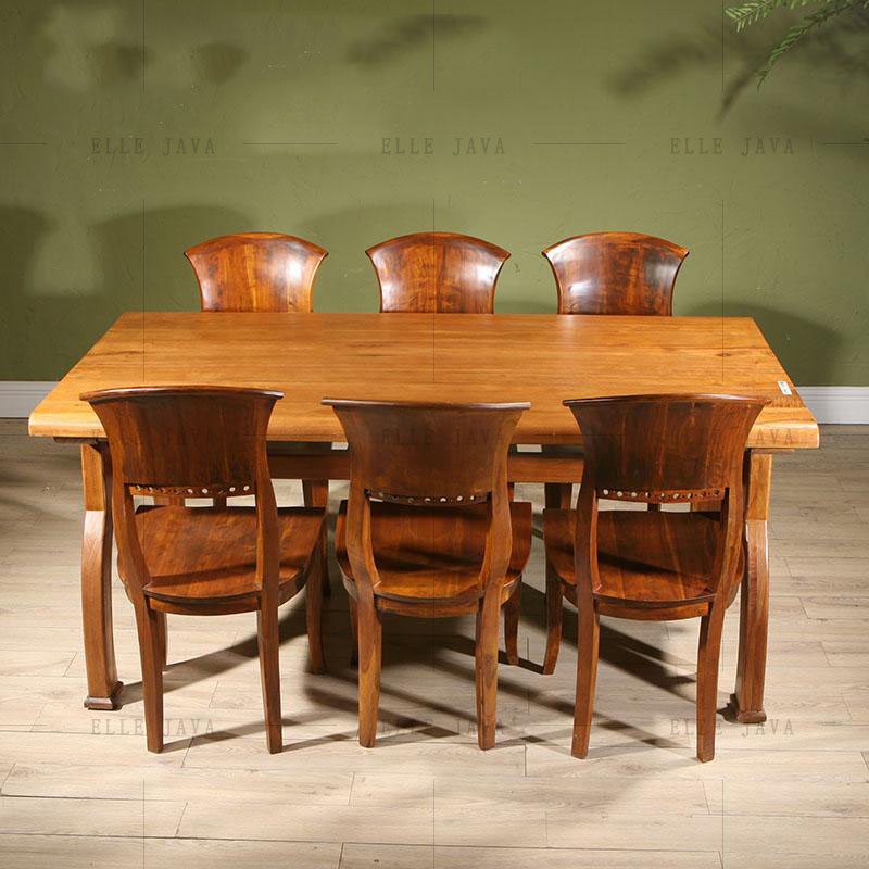 Natual Teak Wood Furniture Set One Table Six Chairs for One Set Living Room Furniture