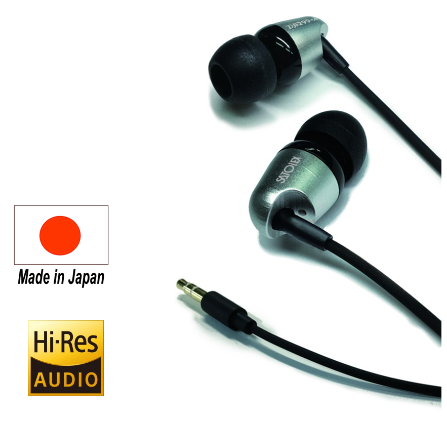 Reliable and Latest ear caps (XS / S / M / L) Hi-Res Earphone with High sound quality made in Japan