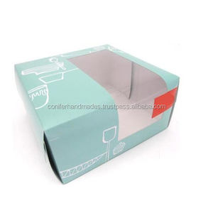 custom logo printed paper boxes for cake packaging available with window on top suitable for packaging cakes and cup cakes