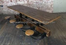 INDUSTRIAL & VINTAGE CAST IRON & WOODEN SWING DINING TABLE