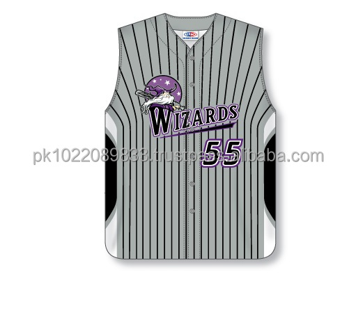 Custom Full Buttons Sublimated Sleeveless Grey/Black/White Baseball Jersey/Shirt made of Moisture Wicking Cool Polyester fabric