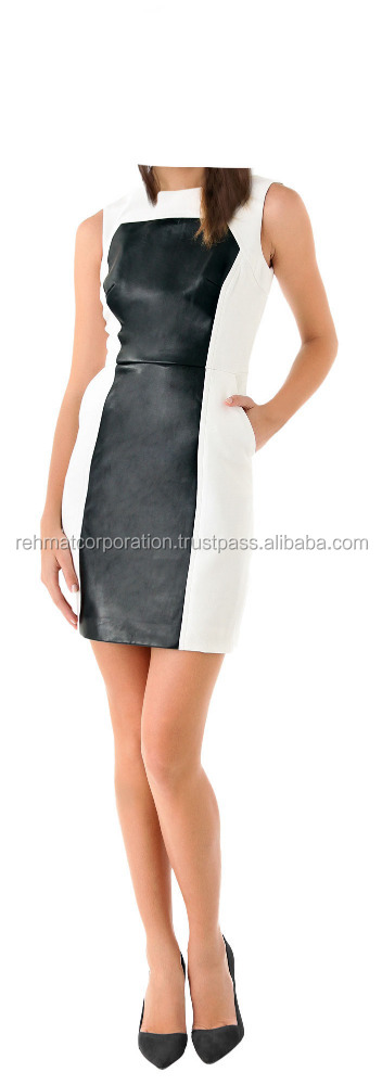 Contrast And Paneled Leather Dress