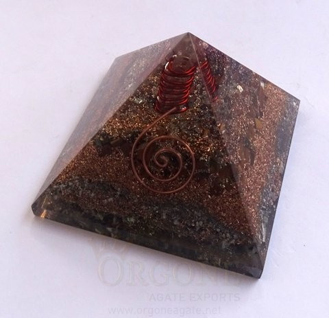 Tiger Eye Orgone Layer Copper Pyramid With Point | Orgonite Tiger Eye Pyramid | Pyramid Yantra