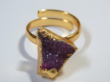 ADJUSTABLE Gold DRUZY Electroplated Agate Assorted Gemstone Rings