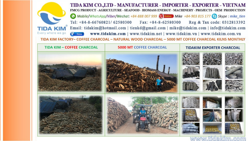 TIDA KIM WHITE COFFEE CHARCOAL BBQ BEST QUALITY VIETNAM CHARCOAL KILNS BBQ BRIQUETTE SHISHA WHITE HARD WOOD BLACK BEST CHARCOAL