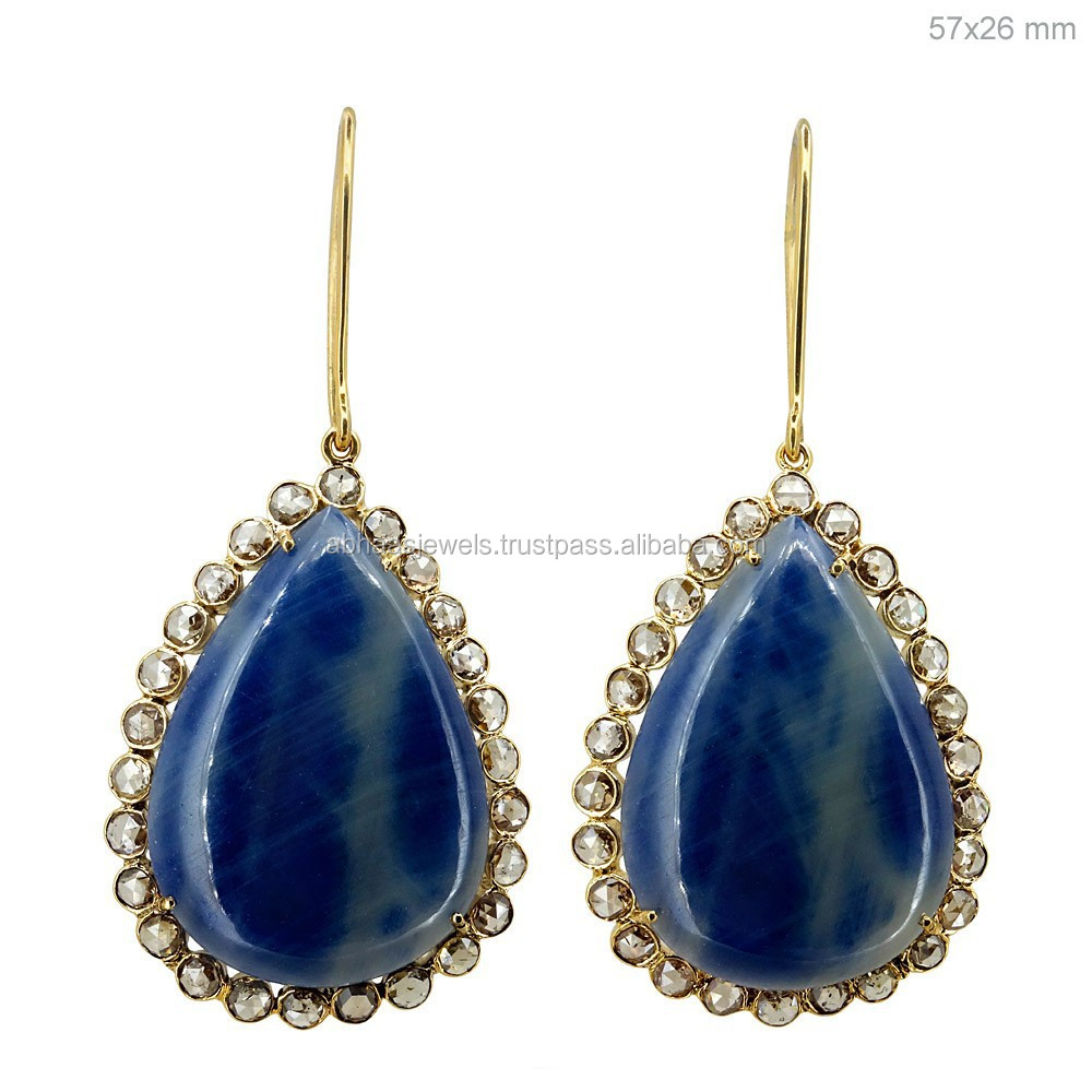 14k Gold Drop Shape Blue Sapphire Earrings Bezel Set Diamond Gemstone Hook Earrings Fashion Earrings Wholesale