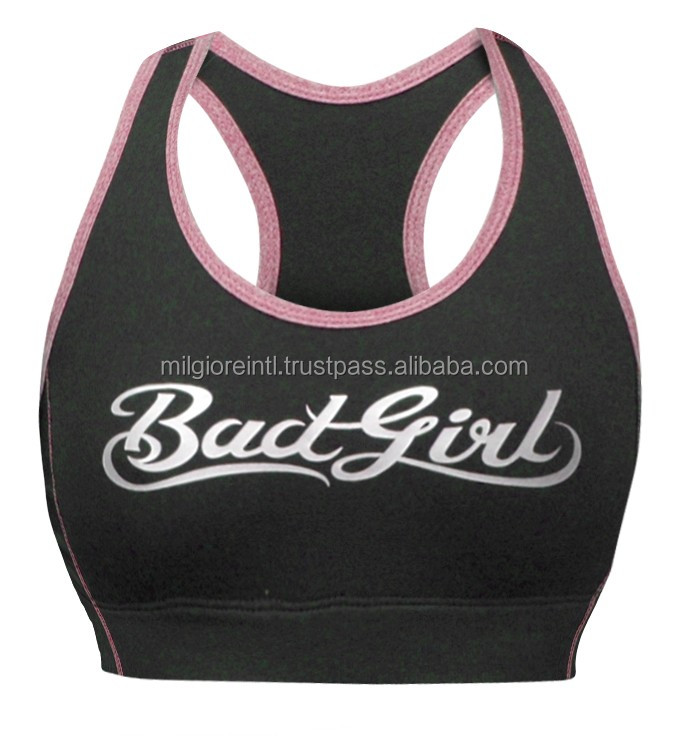 t Back Logo printed high quality print gym bra