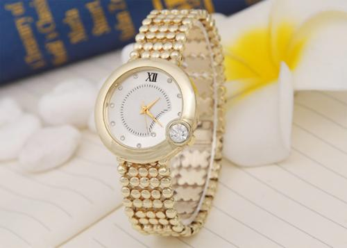 Women Wrist Watch Stainless Steel with zinc alloy dial & Glass gold color plated for woman with rhinestone 38mm Approx 9.4 Inch