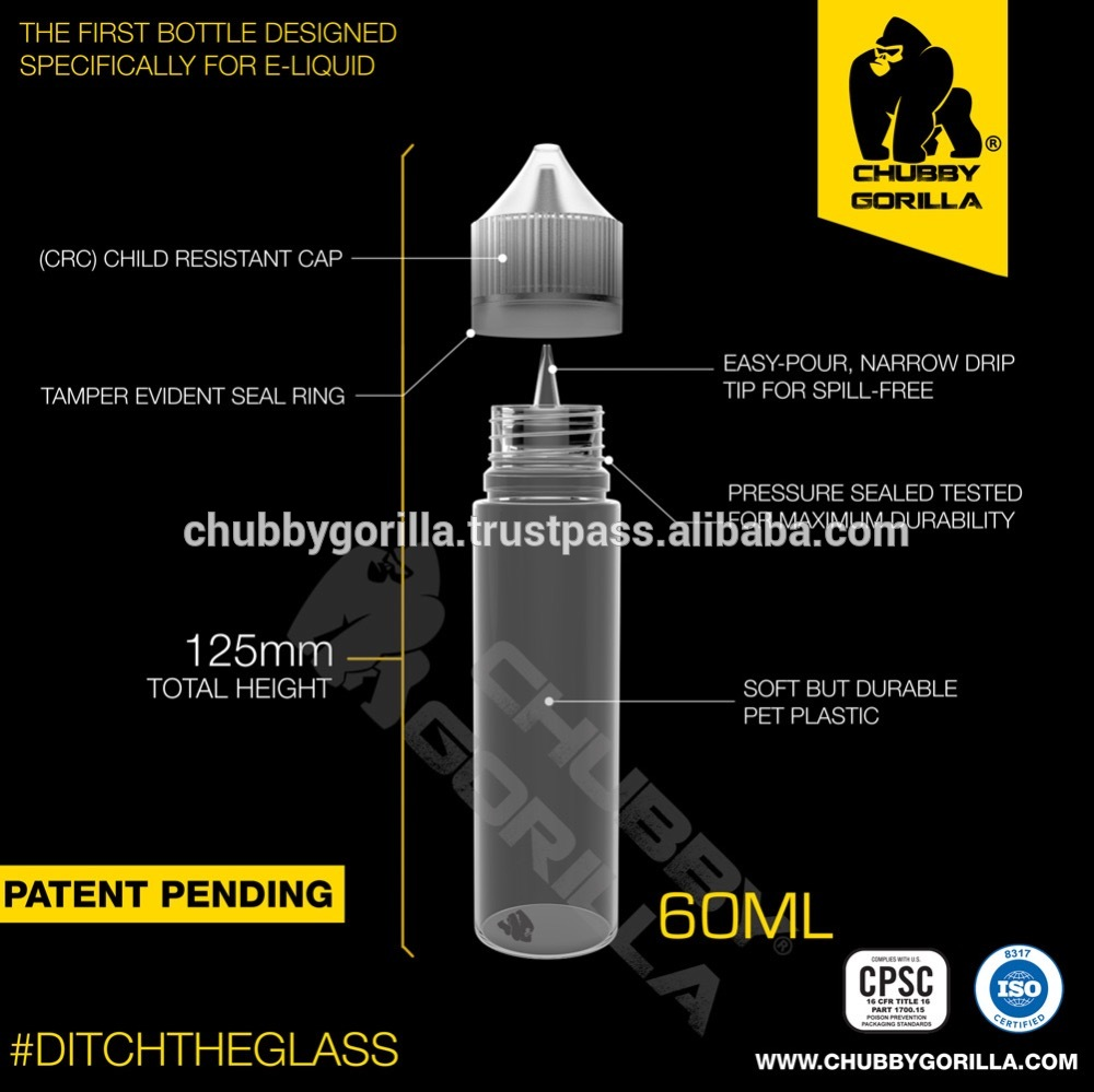 CHUBBY GORILLA 60ML Signature PET Unicorn Bottle CRC Tamper Evident E-Liquids E-Juice Bottles