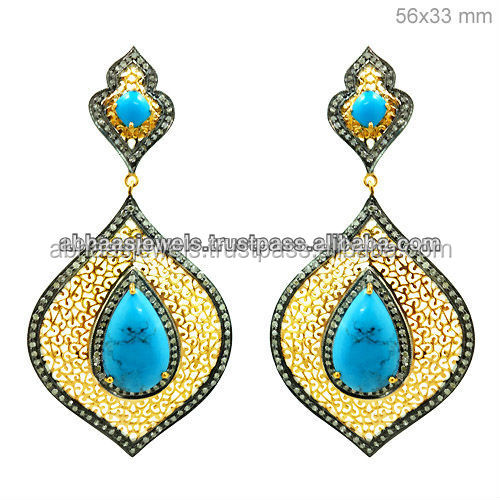 925 Sterling Silver Filigree Design Pave Diamond Turquoise Gemstone Dangle Earrings Wholesale 14k Gold Jewelry