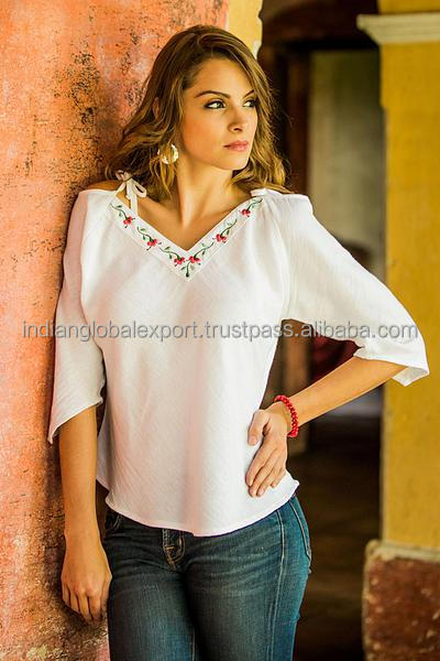 Floral Cotton Embroidered Blouse