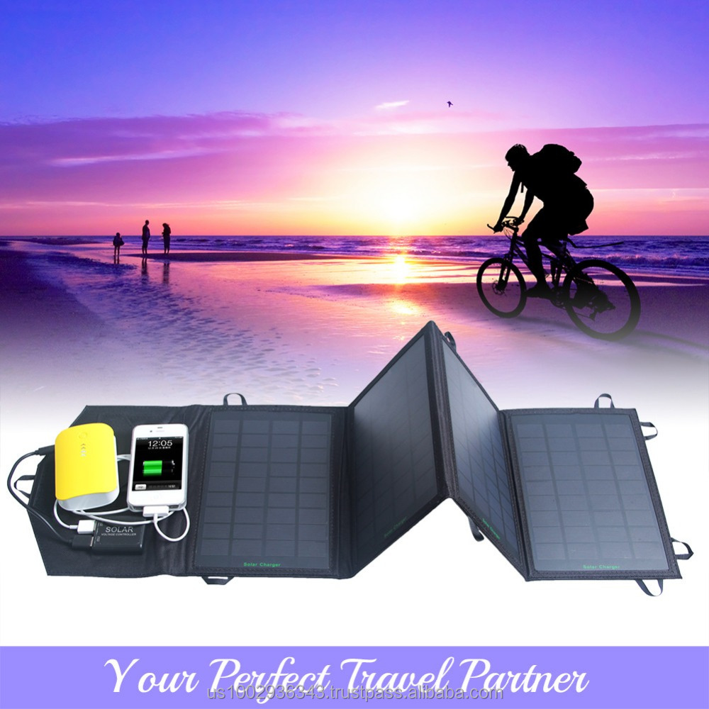 5V 14W Dual Output 5V Cell Phone Portable Foldable Solar Charger Power Bag External Outdoor Battery Panel
