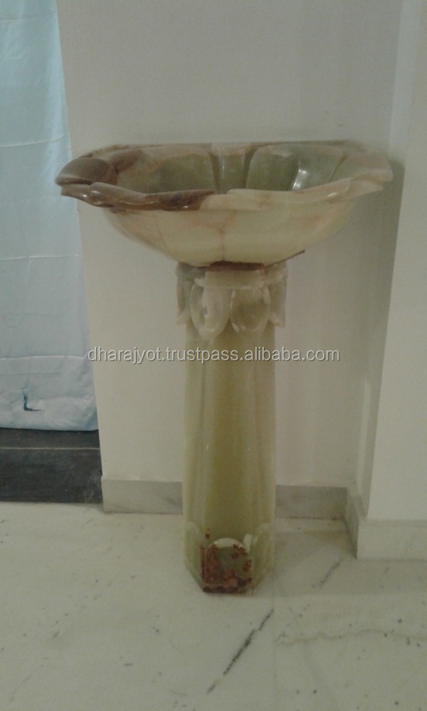 cream marble standing pedestal stone cabinets decor sink