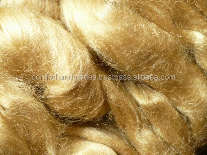 Naturally Golden Color Muga Silk Roving For Yarn And Fiber Stores ...