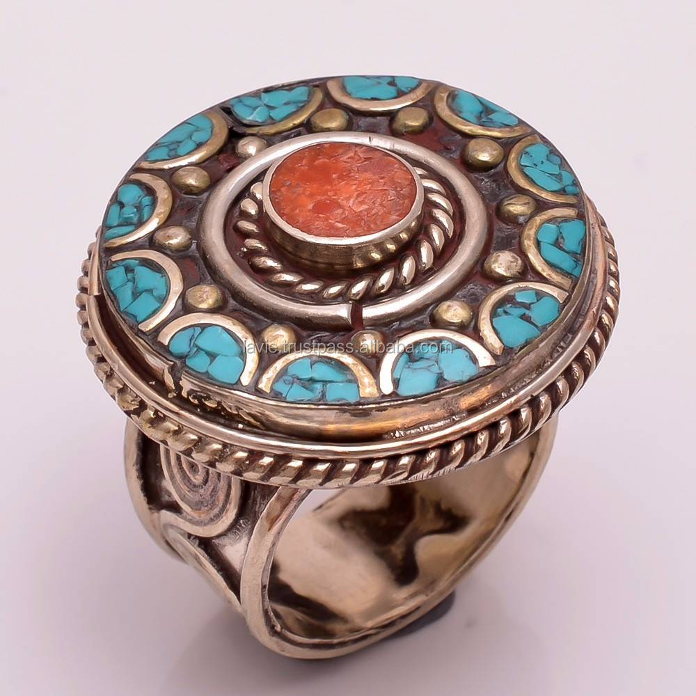 925 SILVER ROSE GOLD VERMEIL TIBETAN TURQUOISE OPAL JEWELRY CHRISTMAS FINE RING