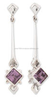 falak gems Fair Trade Modern Sterling Silver Amethyst Earrings, Taxco Romance earrings