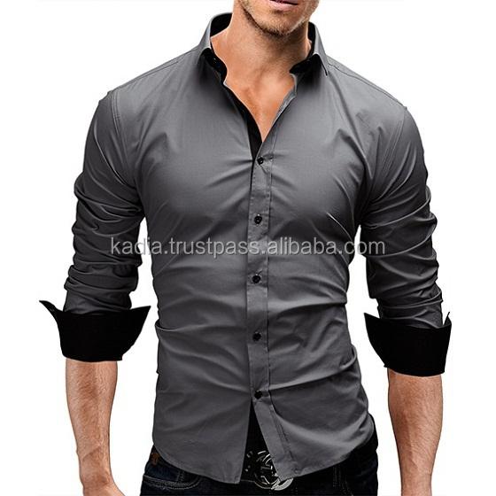 Mens Dark Grey Dress Shirt With Black Placket Style - Buy Boys ...