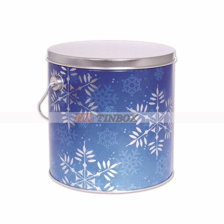 Round Popcorn Tin Can with Handle
