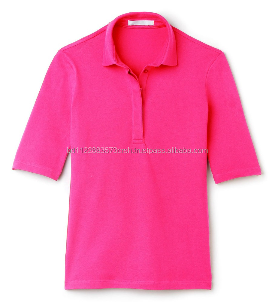 Cotton long sleeve Ladies Polo shirt, prompt delivery clothes from Bangladesh, Ladies Factories price