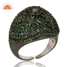 925 Silver Black Rhodium Designer Ring Tsavorite And Emerald Gemstone Rings Manufacturer of Natural Gemstone Ring Jewelry