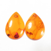 Pressed Baltic Amber Pear Cabochon Gemstone Poland Origin