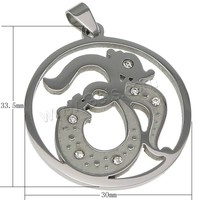 original color 304 Stainless Steel Rhinestone Stainless Steel Pendants