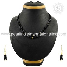 impressive Design Black Spinel Gemstone Jewelry Set Indian Handmade Silver Jewelry Supplier 925 Sterling Silver