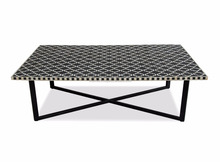 White & black mother of pearl inlay top coffee table with metal base