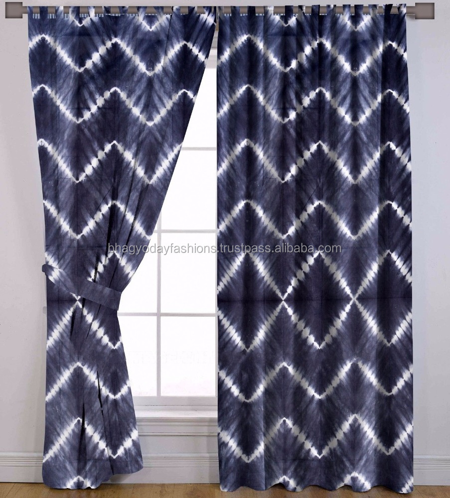 Indian Hand Tie Dye Curtains Wall Tapestry Decorative Drape Panel Valances Curtain Window