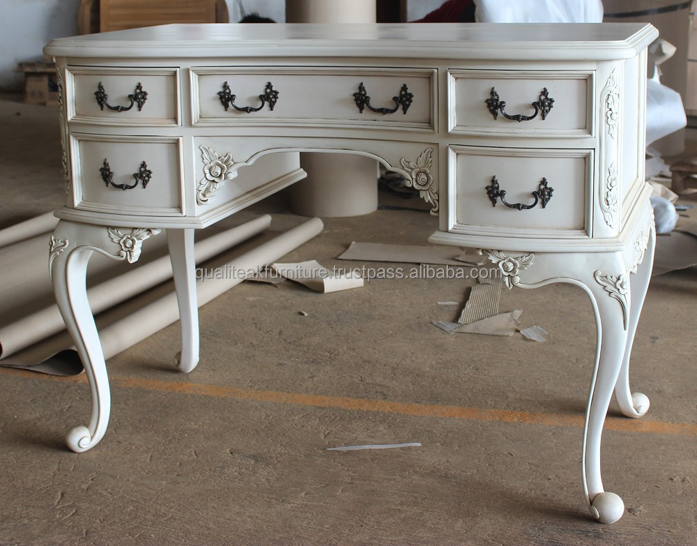 Antique White Paint Mahogany Writing Desk With 6 Drawers