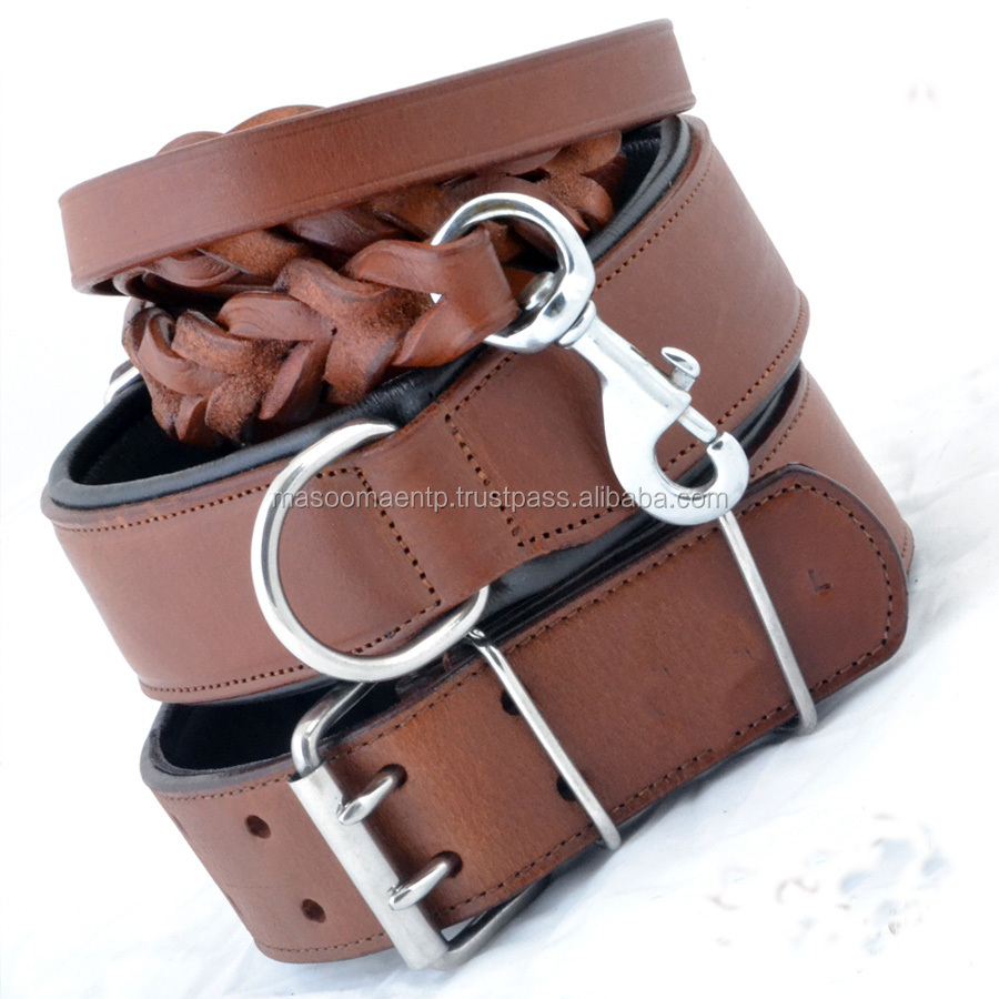 STRONG LEATHER DOG COLLAR LEASH PITBULL