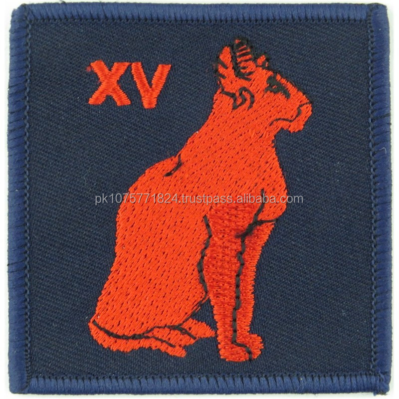 WOVEN BADGES Royal Signals 15 Signal Regiment XV Red Cat Blue Embroidered Regimental cloth arm badge