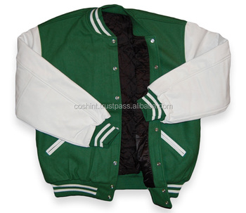 Cosh International: Classic Style All Wool Body Green And White Sleeves Baseball Unisex Varsity Jackets Supplier SN-70035