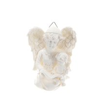Angel Holding onto Baby Angel Wall Plaque - White