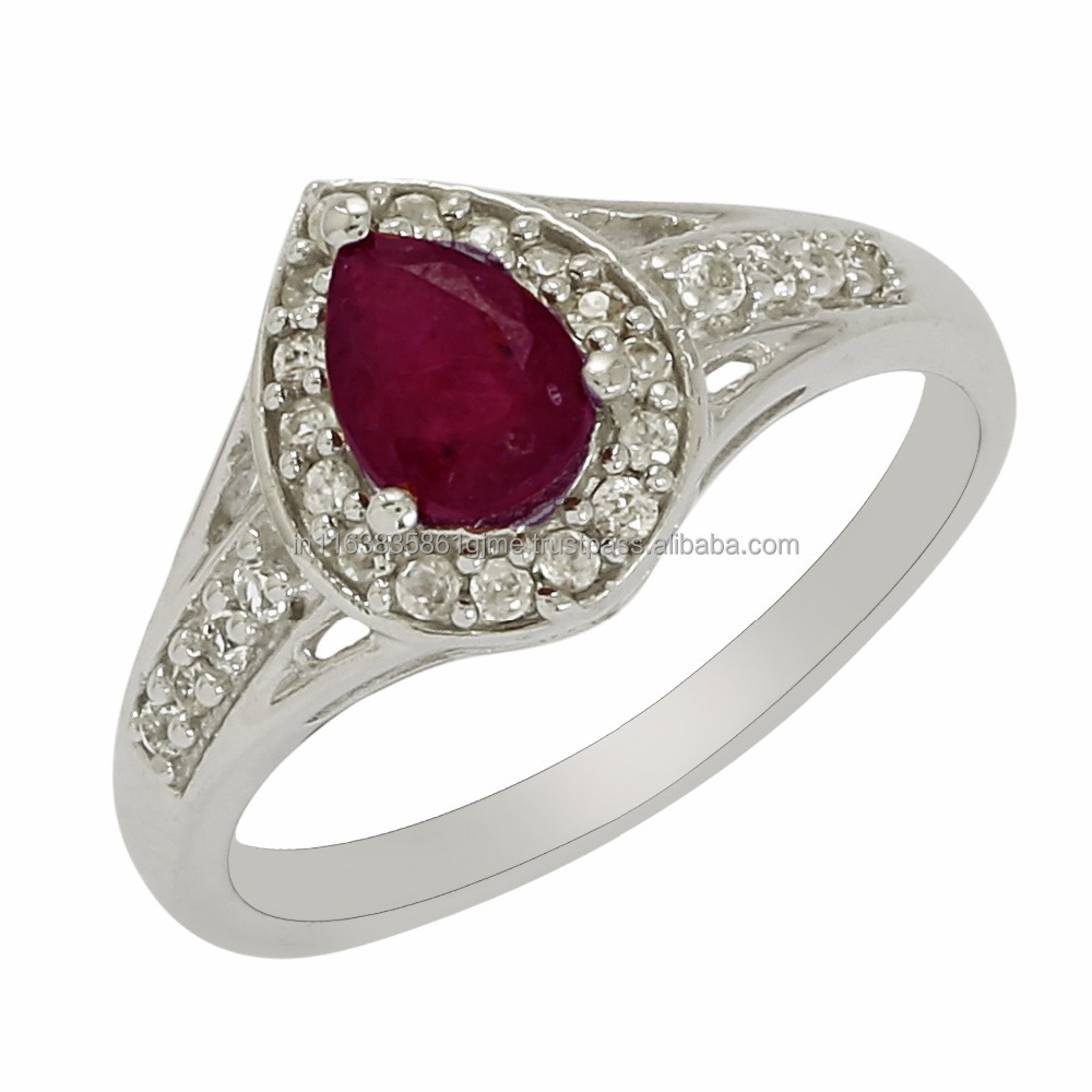 High Quality Glass Field Ruby & White Topaz Gemstone Silver Ring, 925 Sterling Silver Ring, Wholesaler Low Price SHRI0112