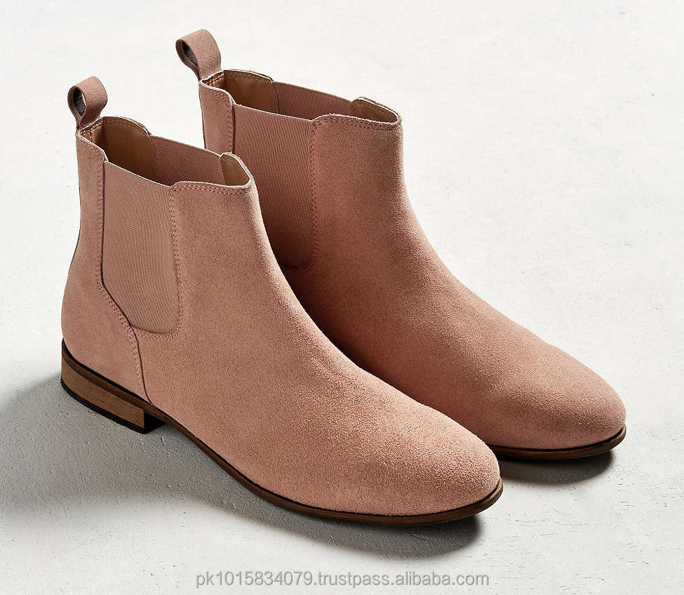 Chelsea Pink Suede Boots, Genuine Leather High Quality Ankle Dress Boots, New Fashion Chelsea Boots Men