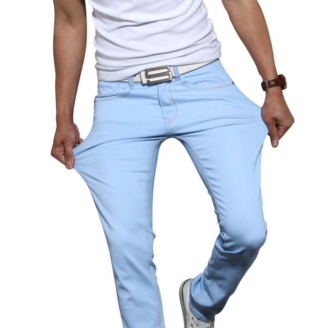 New Fashion Men's Casual Stretch Skinny Jeans Trousers Tight Pants Solid Colors