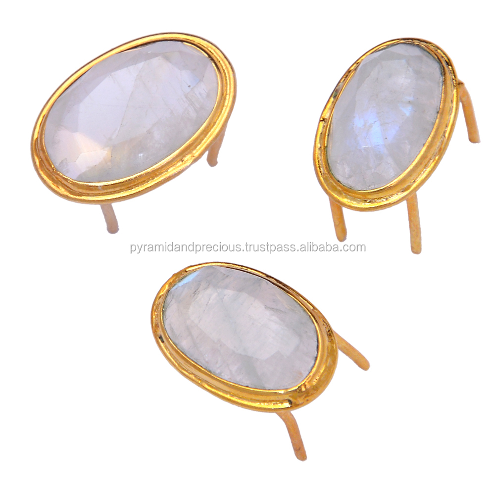 Rianbow Moonstone Gold Plated Sterling Silver Gemstone Spikes - 4 Pin Spikes