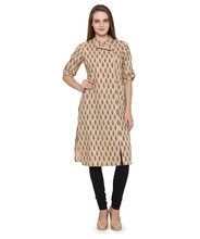 Ladies Casual Angrakha Style Front Open Ethnic Kurta Kurti - Chinese Collar, 3/4th Sleeve - 100% Cotton - Manufacturer Exporter