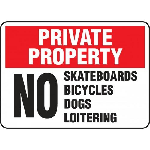 "Accuform MATR971XF, 10"" x 14"" Dura-Fiberglass Sign with Legend: ""No Skateboards, Bicycles, Dogs, Loitering"""