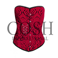 Overbust Steel Boned Red/Black Brocade High Quality Corset Ci-1302 , Waist Training Corsets,